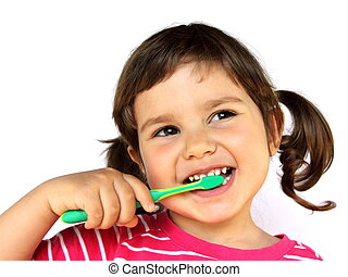 Little Girl Brushing Teeth - Little Smiling Curly Girl...