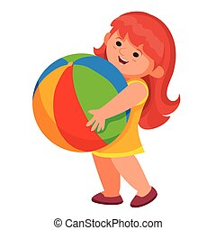 little girl carries a colored big ball in her hands, isolated object on a white background