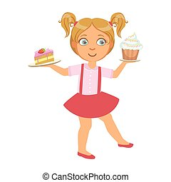 Little girl carring a piece of cake and a capcake in her hands, a colorful character