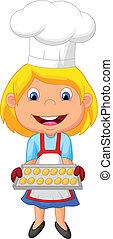 Little girl cartoon baking