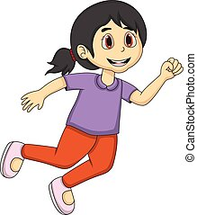 Little girl Cartoon running