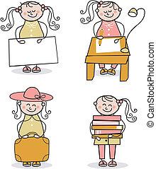Little Girl Cartoons Set