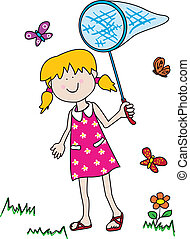Childlike cartoon character: little girl with a big smile holding a butterfly net and having fun tryong to catch them