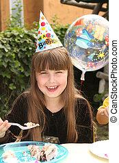 Little Girl Celebrating Her Birthday - Happy Young Girl ...
