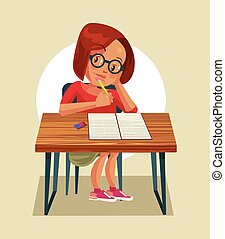 Little girl character doing homework. Vector flat cartoon illustration