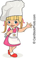 Little Girl Chef in Apron and Hat, Kids Character