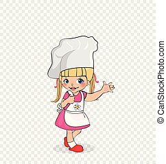 Little Girl Chef with Cake on Plate, Kids Menu