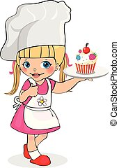 Little Girl Chef with Cupcake on Plate, Kids Menu