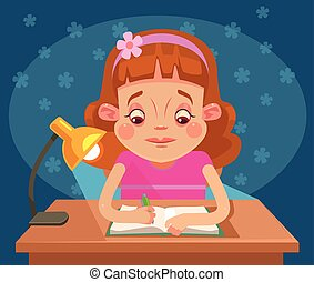 Little girl child character doing homework. Vector flat cartoon illustration