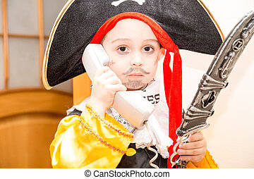 Little girl child dressed as pirate for Halloween