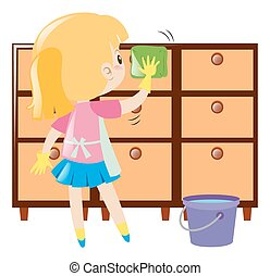 Little girl cleaning drawers