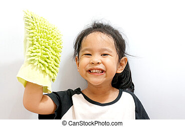 Little girl cleaning isolated on white background