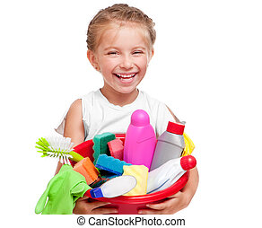 Little girl cleaning