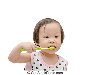 Little girl cleansing her tooth by toothbrush