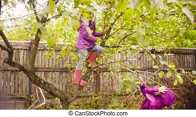 Little girl climbing up a tree and looking for apples
