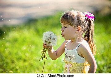 little girl closeup portrait with d
