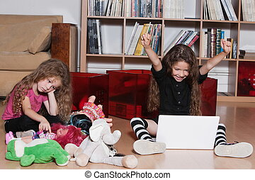 Little girl computing victory sulky toddler