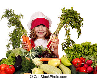 little girl cook with healthy vegetables