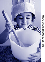 Little girl cooking in kitchen - Little girl (age 3) cooking...