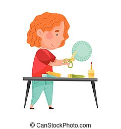 Little Girl Crafting Cutting Out Baking Cup with Scissors Vector Illustration. Inventive Kid Engaged in Upcycling Reusing Recyclable Material Concept