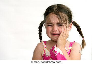 Little girl (age 4) cry, isolated on white background. concept photo of child care, childhood, education, emotion, behavior, psychology.