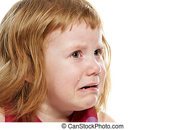 Little girl cryed with tears