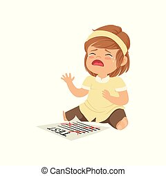 Little girl crying about failed test vector Illustration on a white background