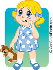 Illustration of a little girl crying and pouting