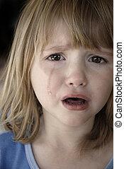 Little Girl Crying Tears Running Down Cheeks