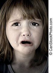 Little Girl Crying with Tears
