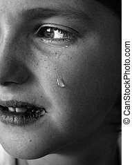 Portrait of little girl crying with tears rolling down her cheeks