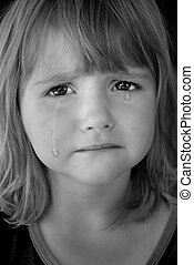 Little Girl Crying with Tears - Portrait of little girl...
