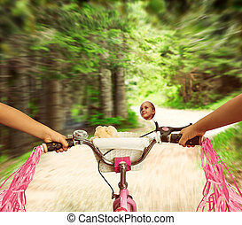 Little girl cycling
