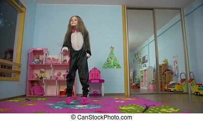 Little Girl Dancing And Jumping - Little caucasian white...