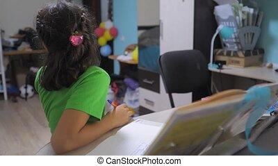 little girl daughter do homework education lesson school....