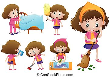 Little girl doing different housework illustration