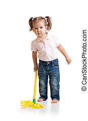 Little girl doing her chore of mopping the floor - Little...