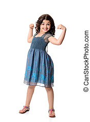 little girl doing muscle pose