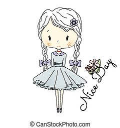 Little Girl Doll with Violet Bows. Vector fairy tail Illustration. Postcard