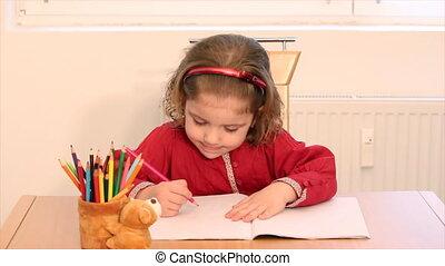 little girl draw