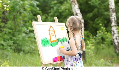 Little girl drawing a dream home in