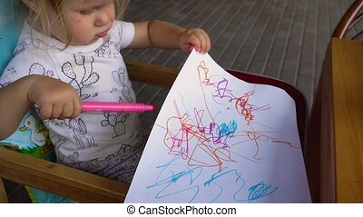 Little girl drawing - From above view of little girl on...