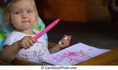 Little girl drawing in album - Little girl on chair drawing...