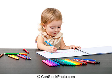 Little girl drawing. Isolated on white