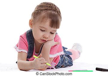 Little girl drawing on floor