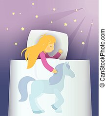 little girl dream about blue pony