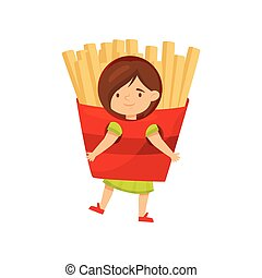 Little girl dressed as red packet of french fries. Fast food costume. Child with smiling face. Flat vector design
