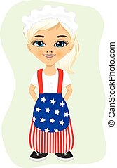 Little girl dressed in a flag