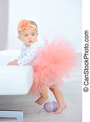 Little girl dressed in a tutu