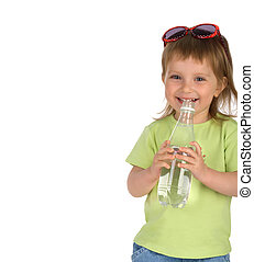 Little girl drink the water
